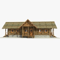 3d wooden log cabin model