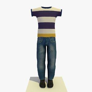 3d model man clothes striped t-shirt