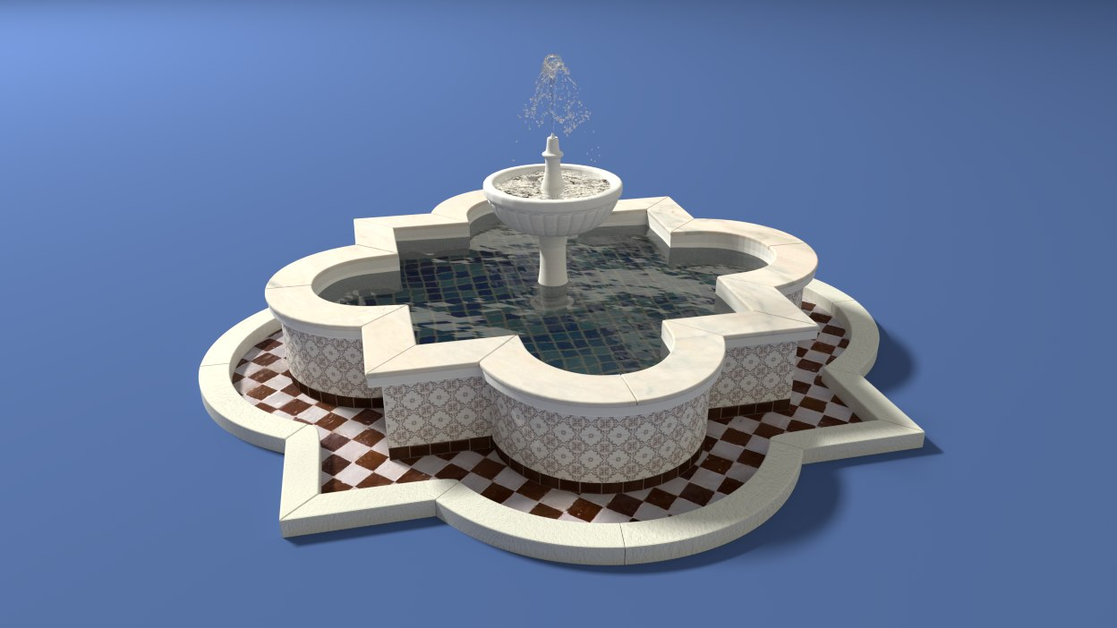 arabic fountain 3d model