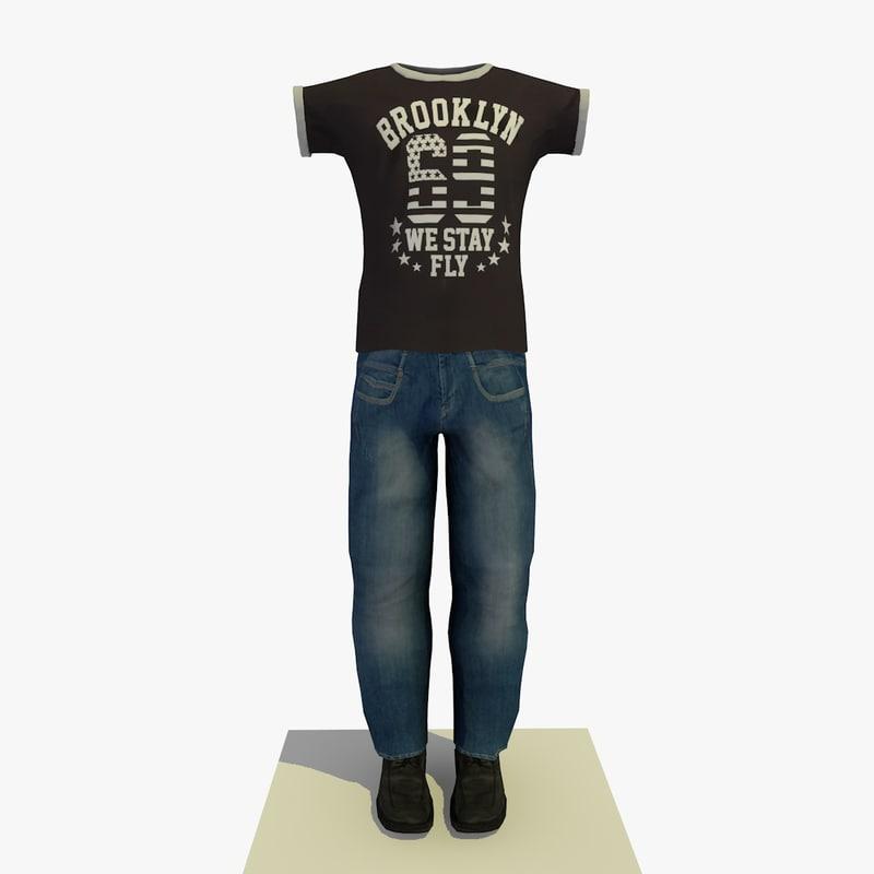 3d model man clothes t-shirt