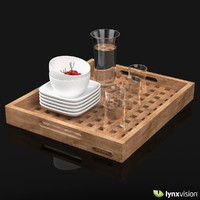 Wooden Tray Set with Glasses, Jug & Bowls