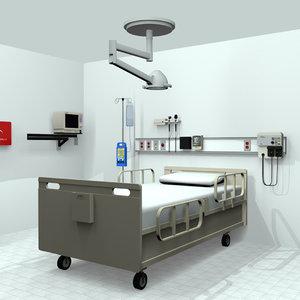 ecg hospital bed monitor 3d c4d
