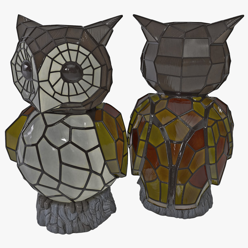 3d model owl solar accent light