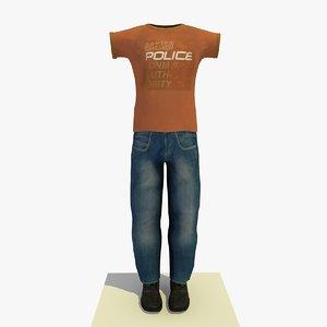 man casual clothes t-shirt 3d x