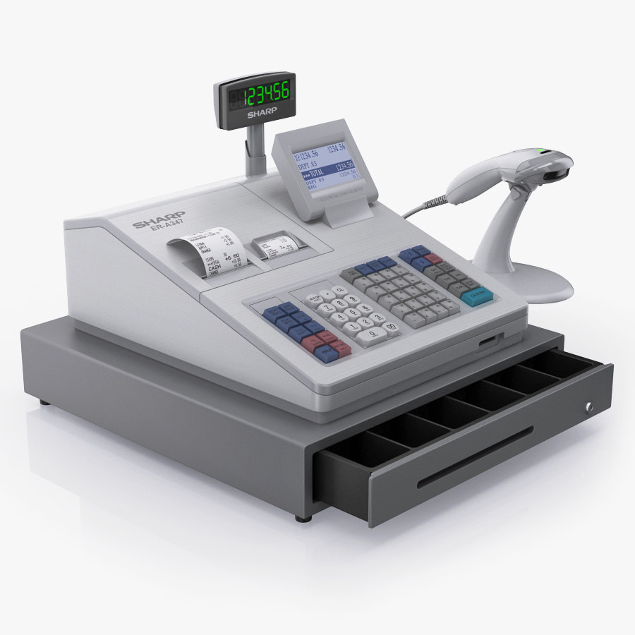 3d cash register sharp er-a347 model