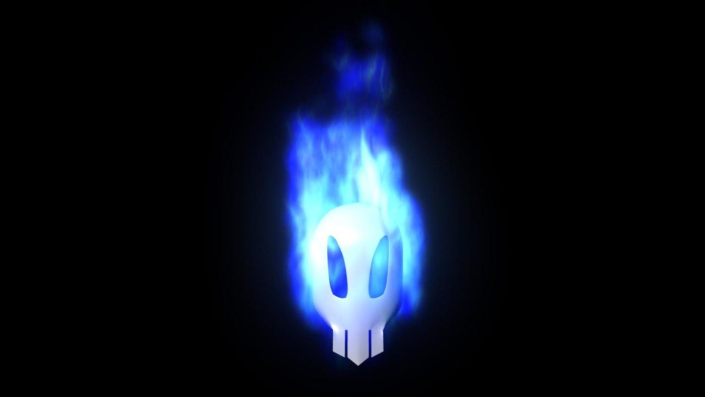 3d model burning blue flame skull