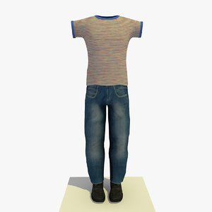 3ds max man casual clothes striped