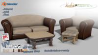 3d model sofa armchair table