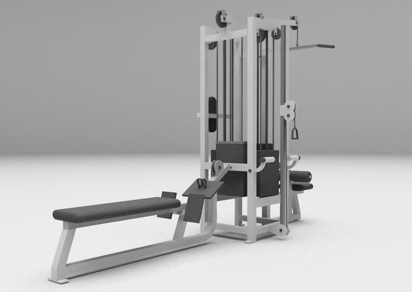 combo pulley station 3d max