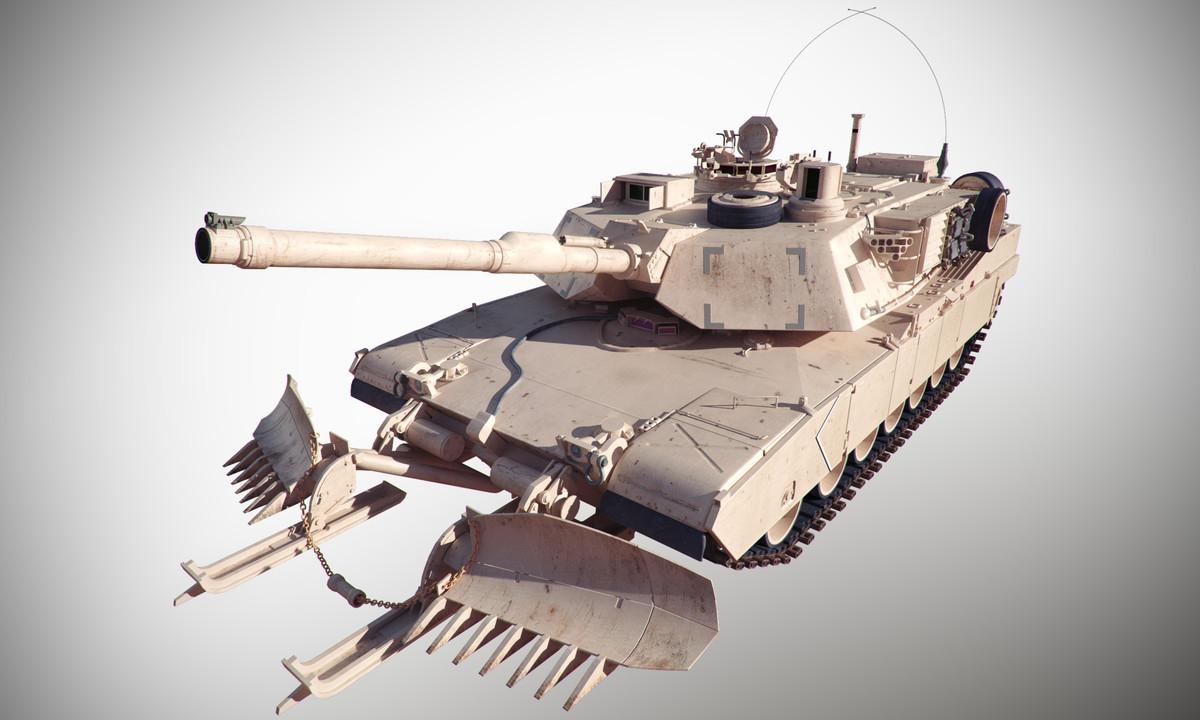 3d max abrams m1a1 tank