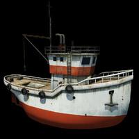 3d model old fishing boat
