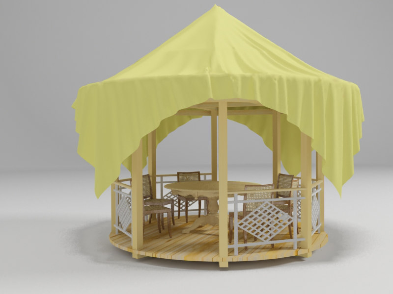 3ds max wooden arbour