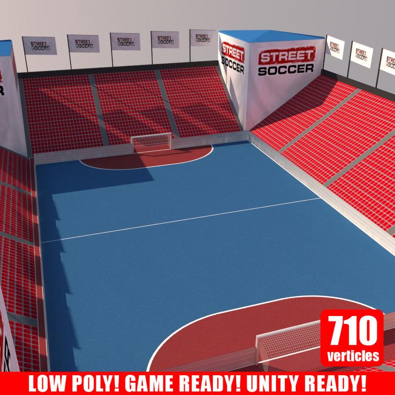 3d model street soccer court 2