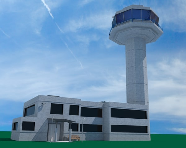 control tower airport traffic fbx