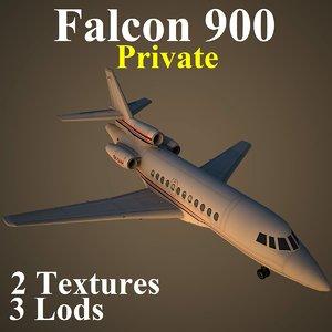 3d model dassault falcon 900 pvt