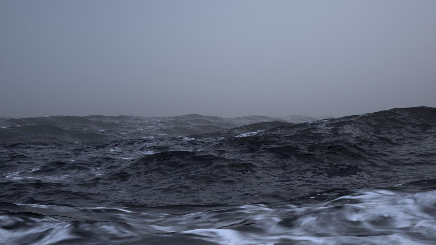 3ds max scene stormy ocean