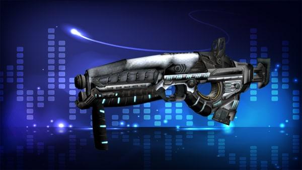 3d sci-fi submachine gun