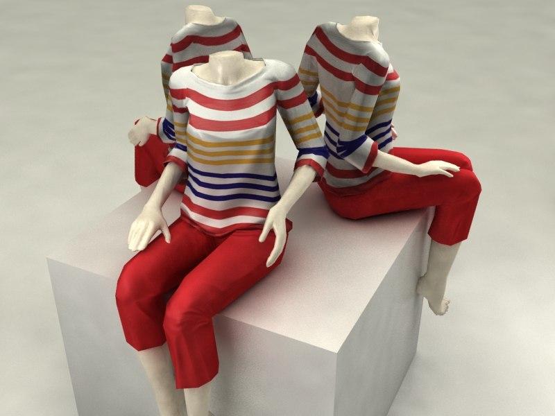 sitting mannequin 3d max