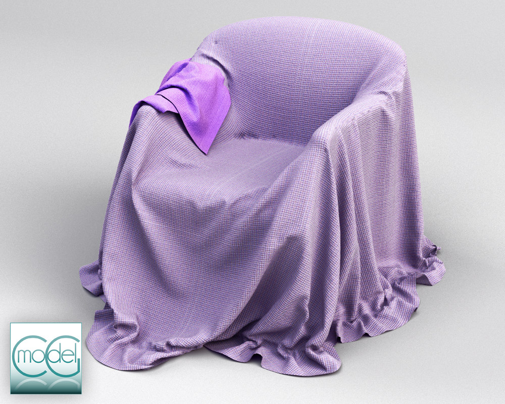 3dsmax couch covered cloth