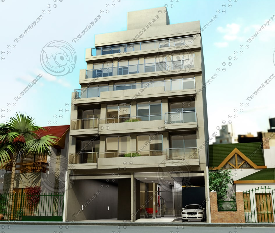 3d Model House Building Residential: Building Hall 3d Model