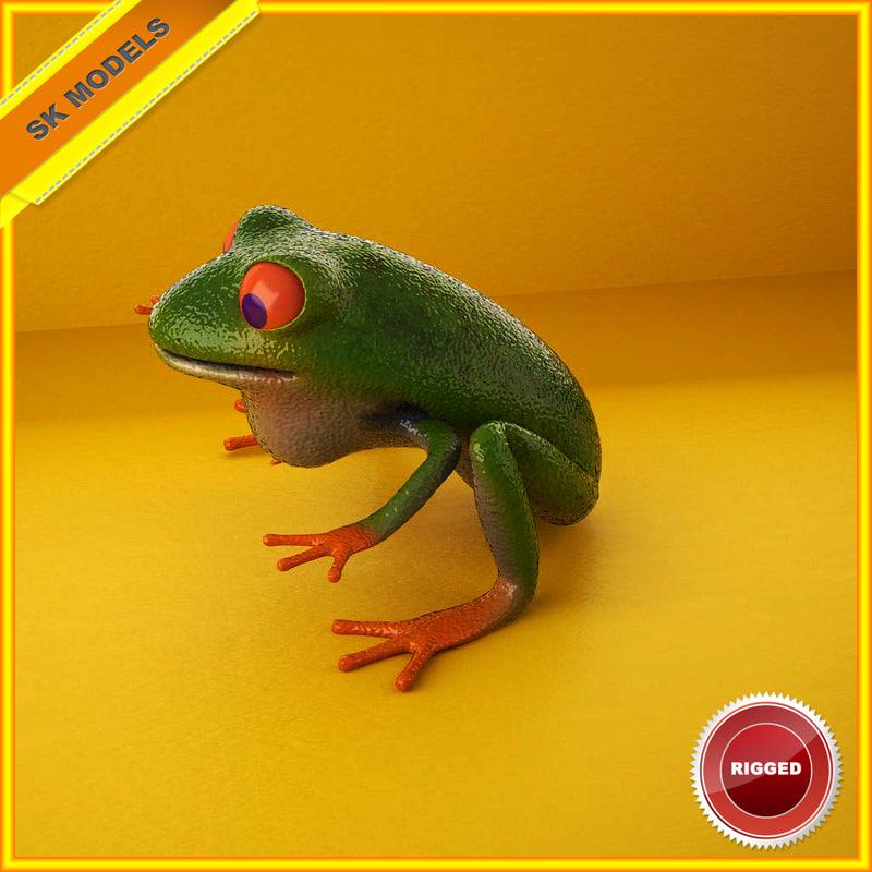 3d frog rig model