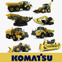 3d komatsu mining construction vehicles