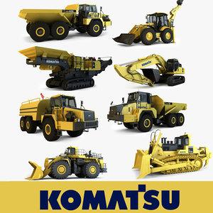 3d komatsu mining construction vehicles