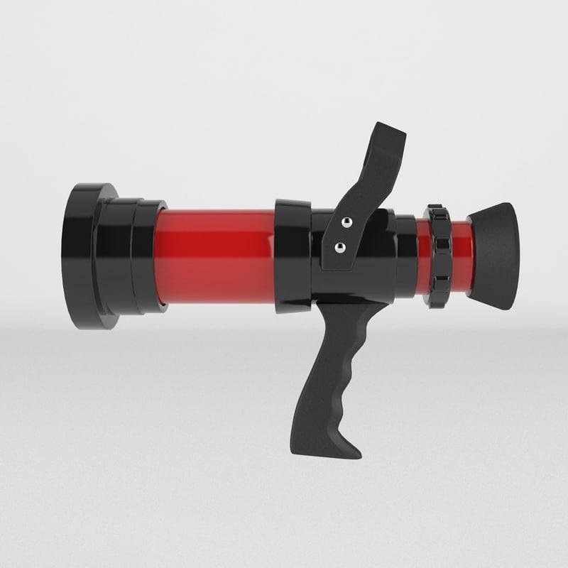 3d model firefighter hose nozzle
