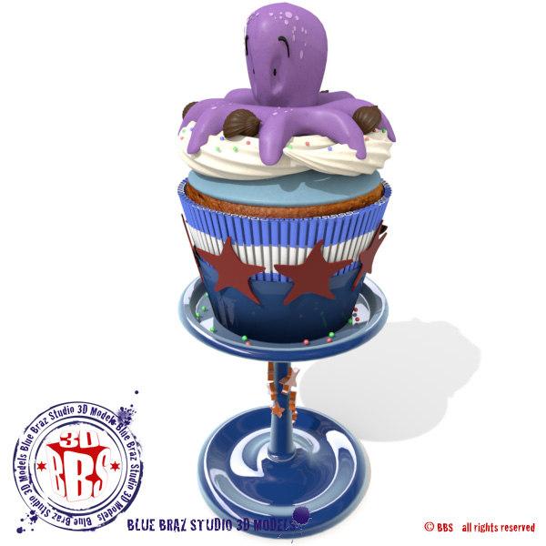 octopussy cupcake 3d obj