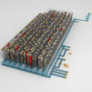 3d model warehouse conveyors cranes