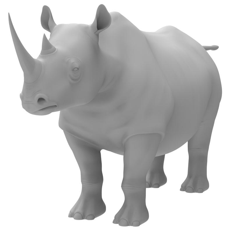 3d rhinoceros modeled