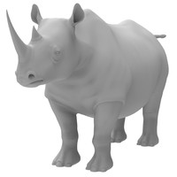 3d rhinoceros modeled