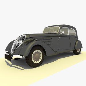 3d classic 1939 peugeot black model