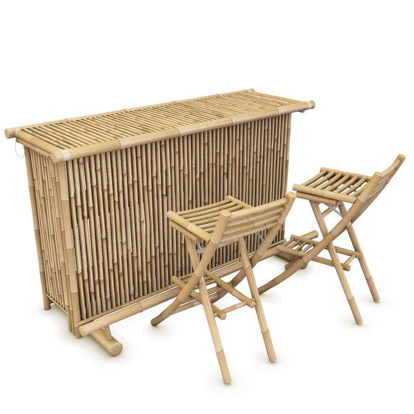 3d bamboo bar chairs model