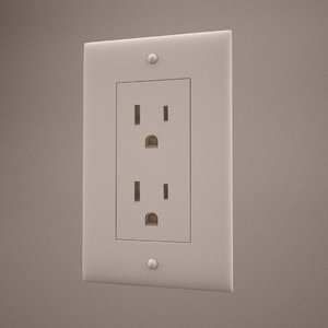 3d single electrical outlet