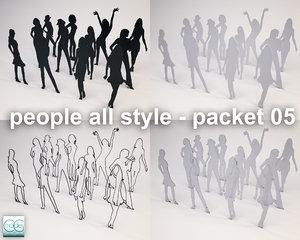 3d silhouette people model
