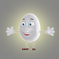 3d model of cartoon egg