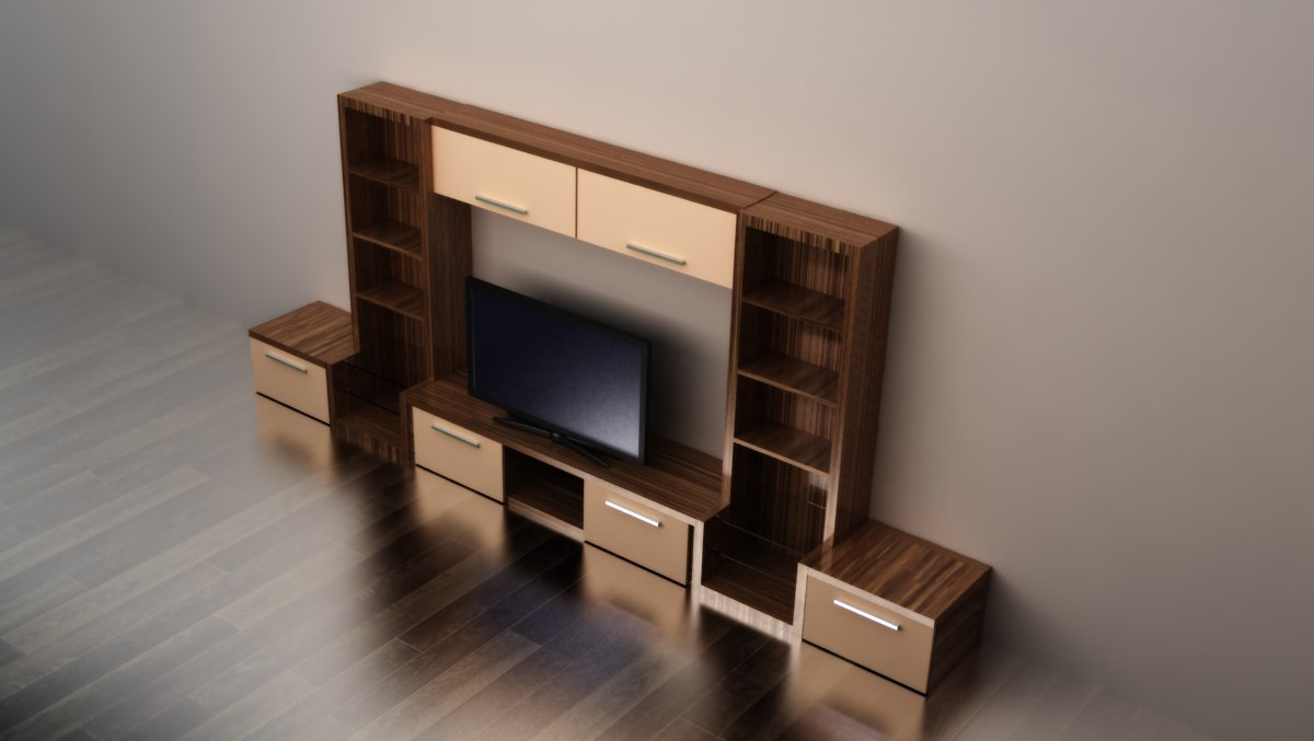 3d model of modern tv stand. Black Bedroom Furniture Sets. Home Design Ideas