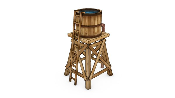 wild west water tower 3d model
