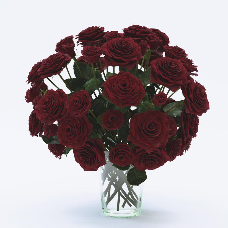 rose red flower bouquet 3d max