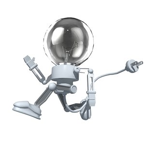 maya cartoon bulb man