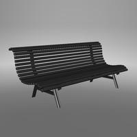 metal park bench 3d max