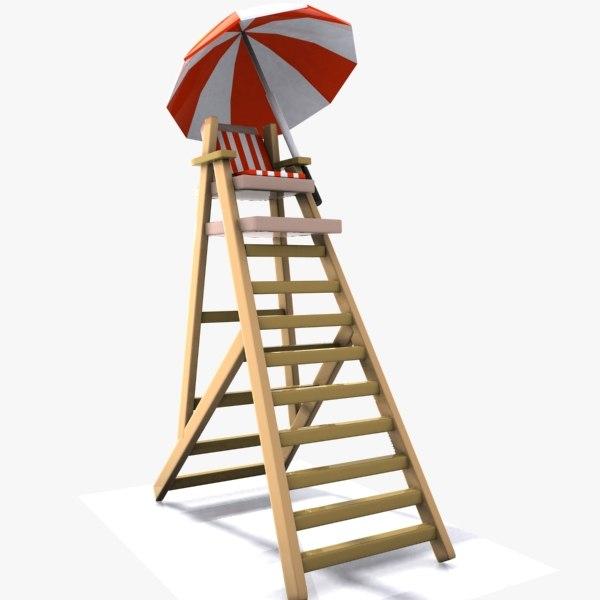 cartoon lifeguard tower 3d 3ds