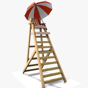 cartoon lifeguard tower 3d 3ds