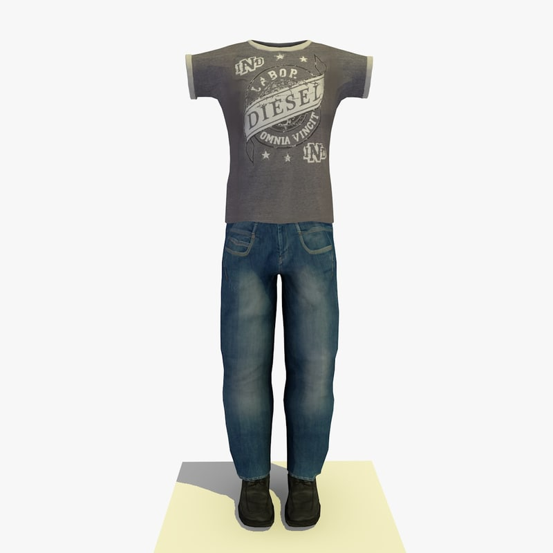 man clothes 3d obj