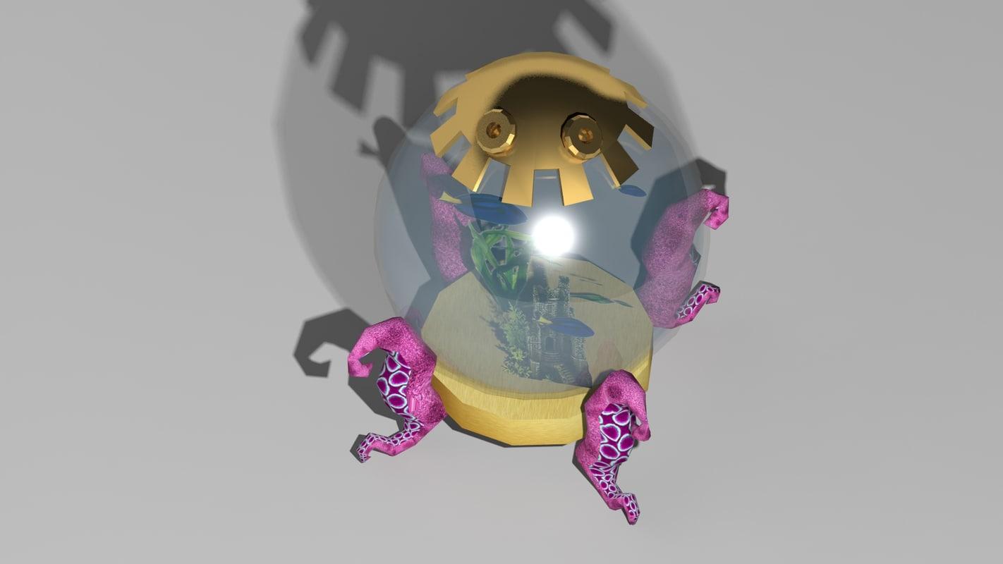 fantasy fish tank 3d obj