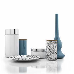 3d vase cans plate