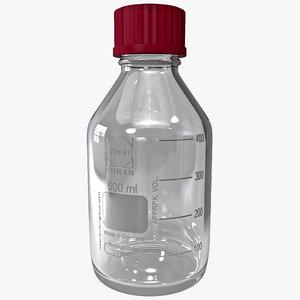 laboratory bottle 500 ml 3d model