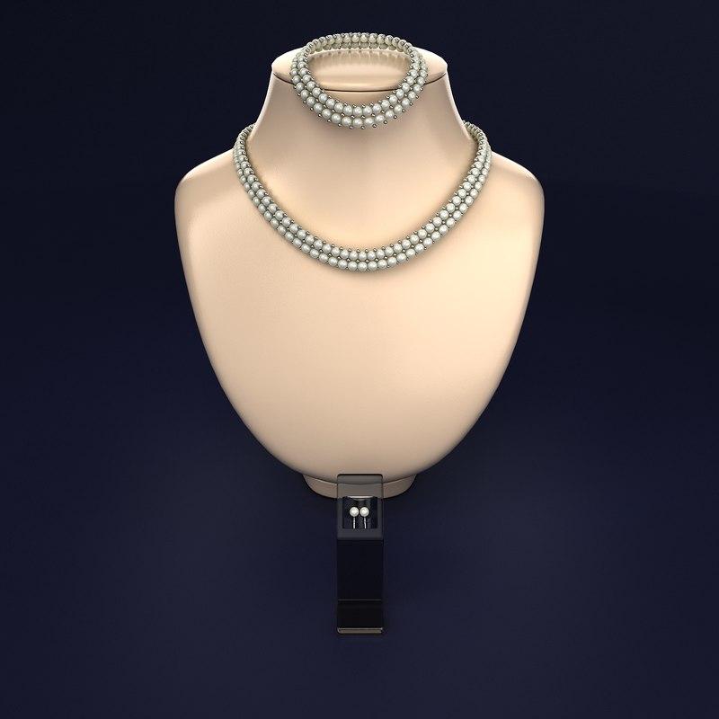 3d set necklace earrings model