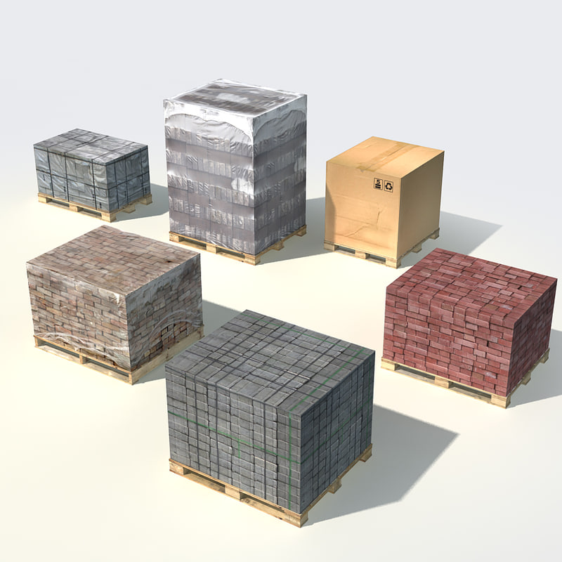 3d model wood pallets loads